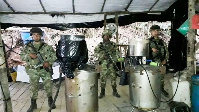 Colombian Army and Police Destroy Coca Operation