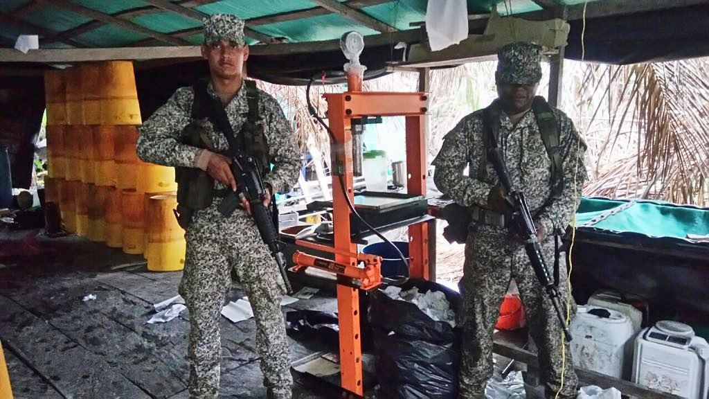 Colombian Navy Destroys Cocaine Processing Compound