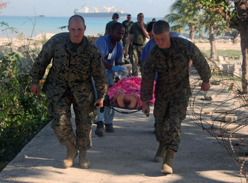U.S. Navy, Marine Corps Team Helps Coordinate Help In Carrefour
