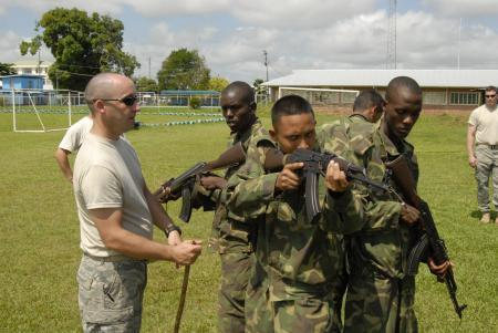 183rd Security Forces Teach Security Techniques to Suriname Military