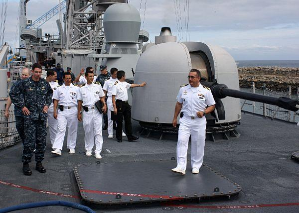 Ecuadorian Navy Officers Visit USS Thach During Southern Seas 2011