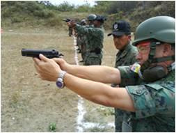 Ecuadorean GEOs Receive Training with 9-mm Pistols at the Huancavilca Military Fort