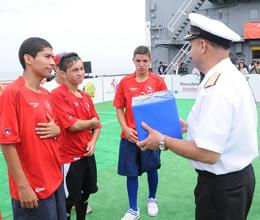 Deck of Chilean Ship Serves as Soccer Field