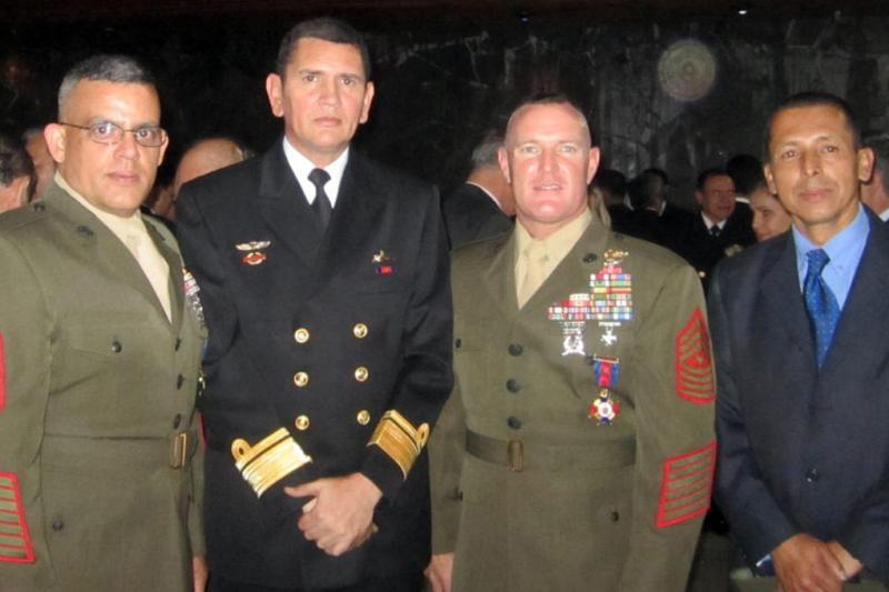 Commandant of Colombian Marine Corps Awards U.S. Marines