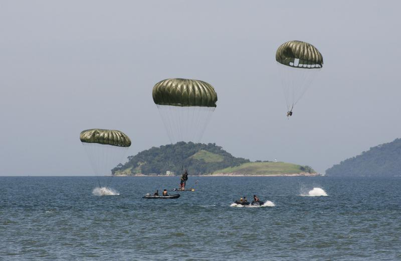 Paratroopers Train to Launch onto Body of Water