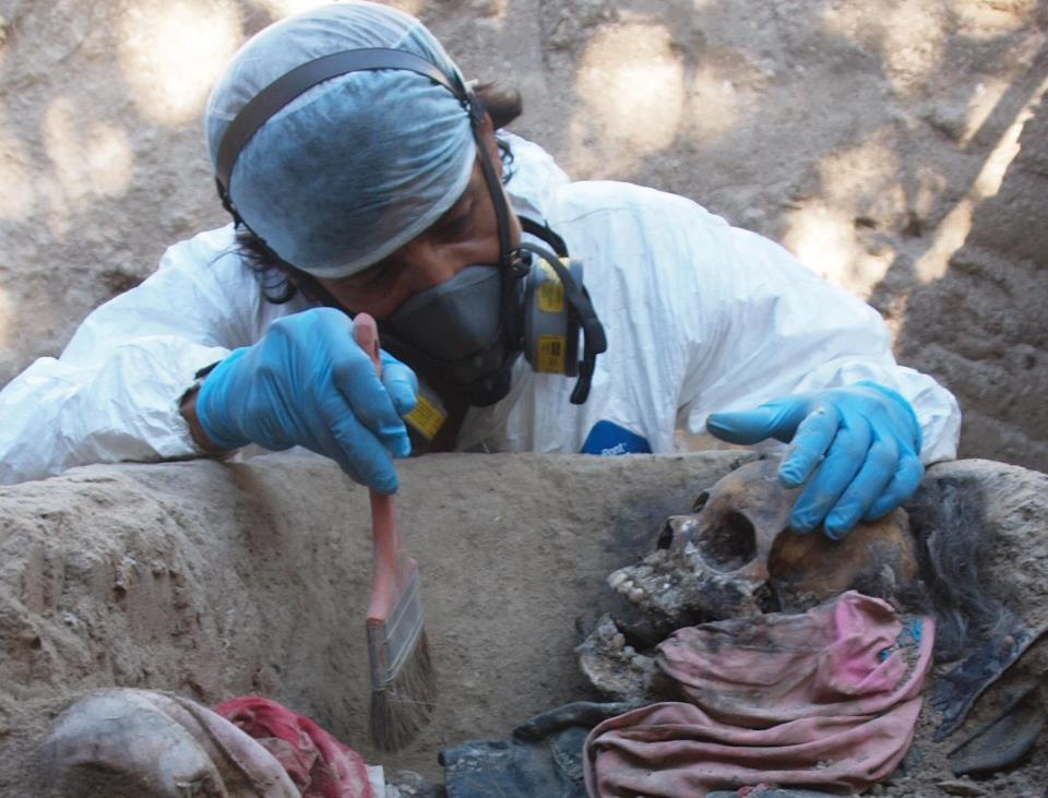 Salvadoran forensic criminologist Israel Ticas identifies victims buried in clandestine graves