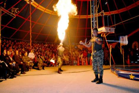 Laughing for Peace: Colombian Army soldiers perform in traveling circus