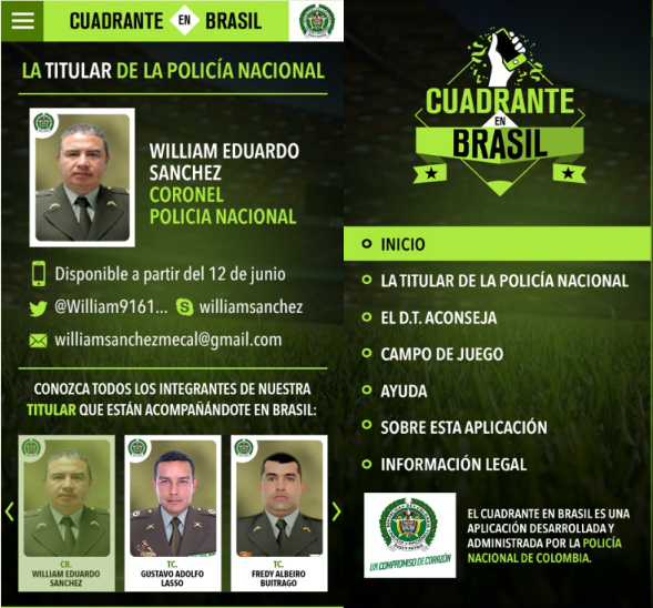 National Colombian Police and a unit of digital media experts are headed to Brazil's 2014 World Cup