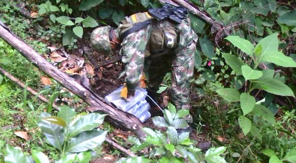 Colombian National Army destroys FARC explosives