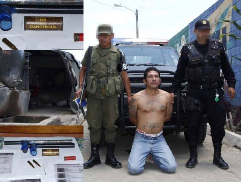 Guatemalan security forces capture gang members carrying improvised bombs