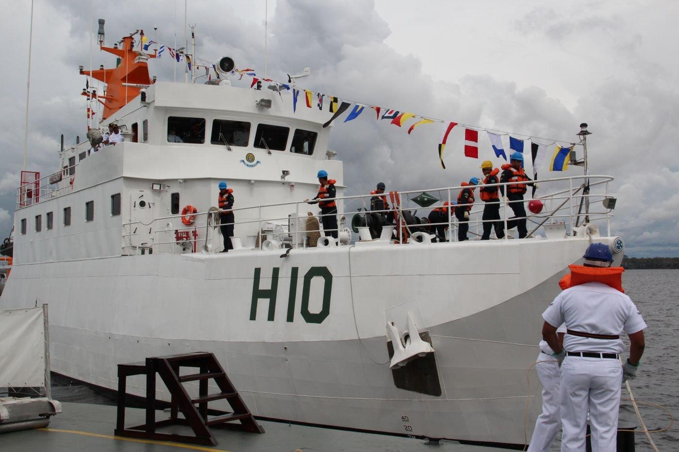 Brazilian Navy Ship Rio Branco Maps Rivers in the Amazon