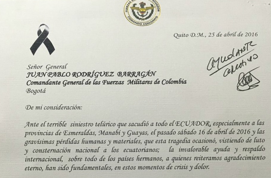 Ecuadorean Armed Forces Thank Colombia for Aid after Earthquake