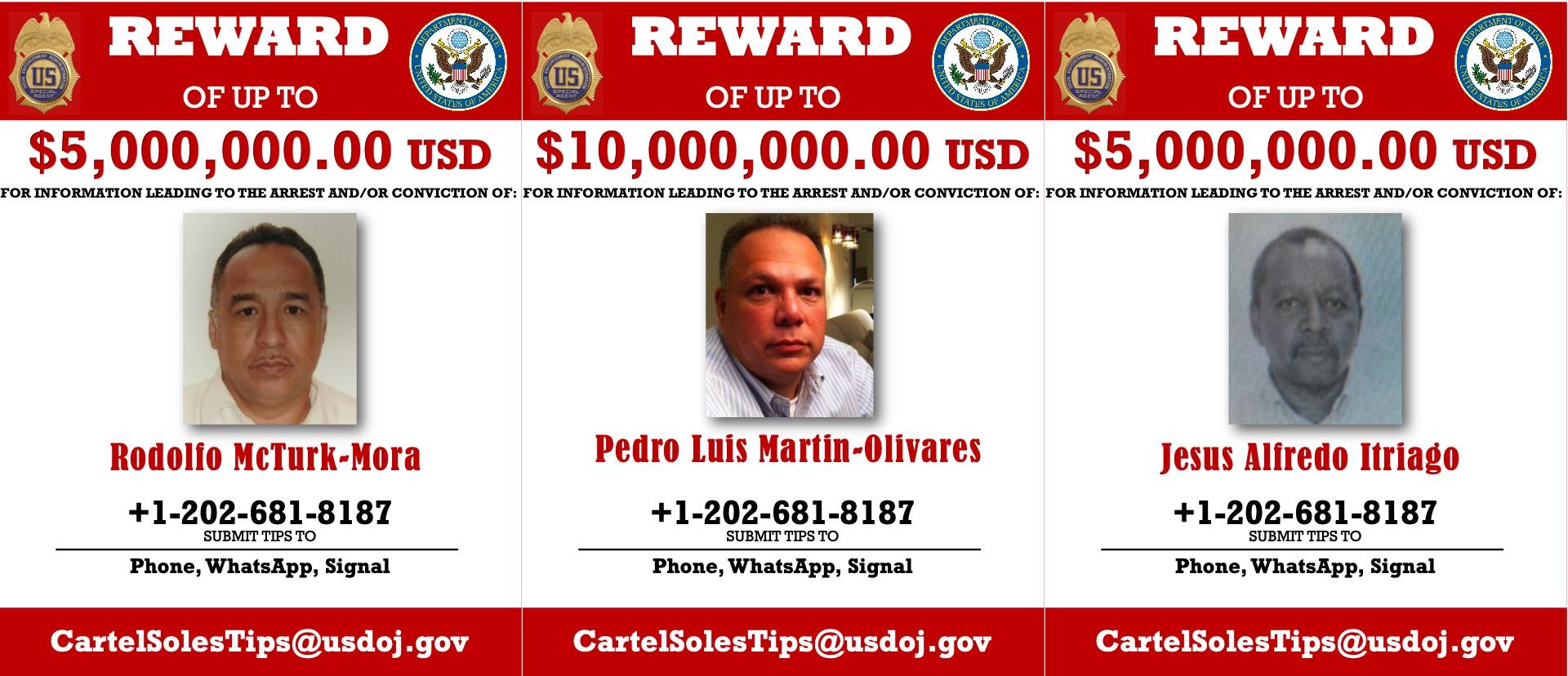 US Offers Millions in Rewards for 3 Ex-Venezuelan officials