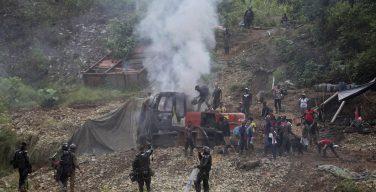 Polícia e Forças Militares da Colômbia atacam mineração ilegal de ouro
