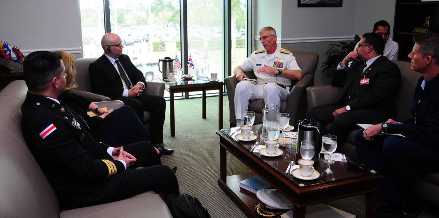 U.S. Navy Adm. Craig Faller, commander of U.S. Southern Command, met with Costa Rica's Minister of Public Security Michael Soto Rojas at SOUTHCOM headquarters January 28, 2019, to discuss regional security and cooperation. Costa Rica's security partnership with the United States includes cooperation in countering illicit trafficking and training engagements. (Photos by Juan Chiari, U.S. Army Garrison-Miami)
