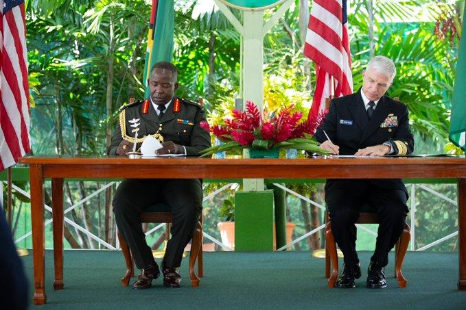 """On January 12, 2021, in Georgetown, the U.S. Department of Defense and Guyana signed an """"Acquisition and Cross Servicing Agreement."""" Guyana Defence Force Chief of Staff, Brigadier Godfrey Bess (L), and U.S. Navy Admiral Craig S. Faller (R), SOUTHCOM commander, signed the agreement. (Photo: SOUTHCOM Twitter)"""