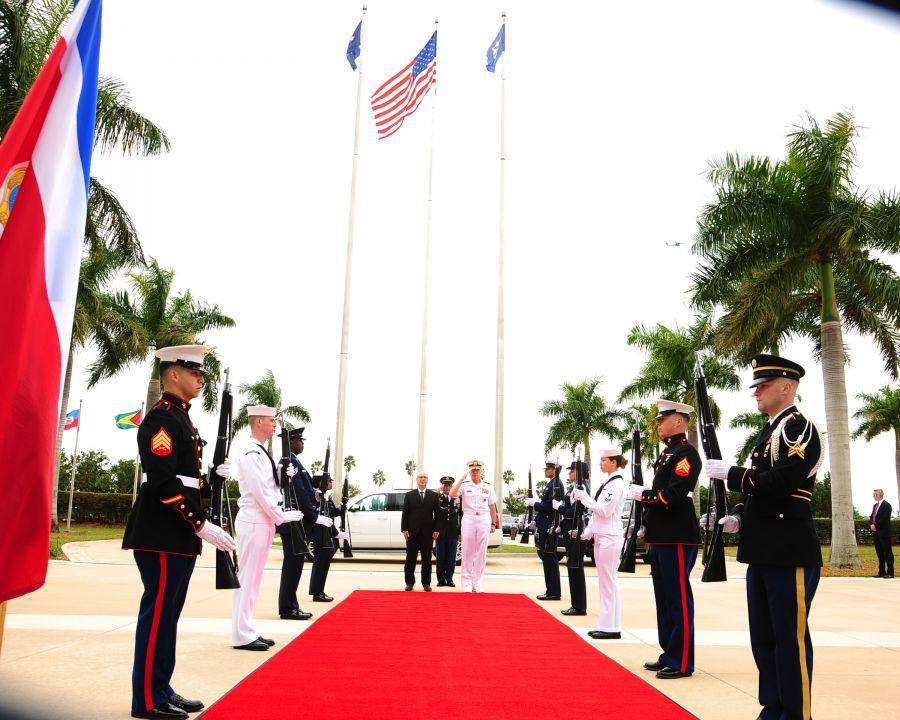 U.S. Navy Admiral Craig Faller, SOUTHCOM commander, renders honors during the arrival of Costa Rican Minister of Public Security Michael Soto Rojas, to SOUTHCOM headquarters, January 28, 2019.