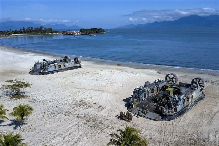 Two U.S. Navy Landing Craft Air Cushion (LCAC) vehicles transported arms, equipment, and cargo during exercise UNITAS 2019. (Photo: Wagner Ziegelmeyer, Cria Studios)