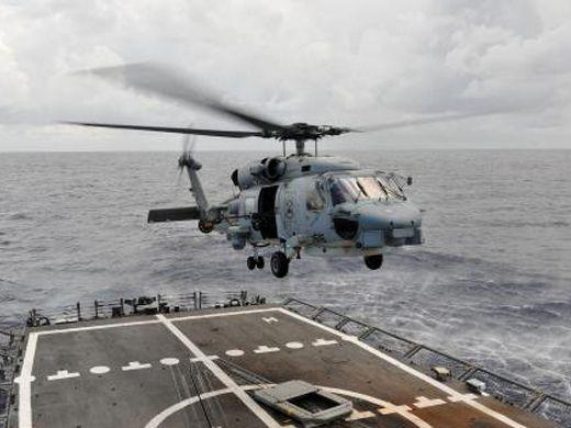 A U.S. Navy Seahawk helicopter assigned to Helicopter Anti-Submarine Squadron Light 48 takes off from the flight deck of the guided missile frigate USS Underwood in the Caribbean Sea on Oct. 22. Underwood was deployed to Central and South America and the Caribbean in support of Operation Martillo and Southern Seas 2012. Operation Martillo is an international mission that gathers Western Hemisphere and European nations in an effort to curtail illicit trafficking routes on both coasts of the Central American isthmus. (Courtesy of U.S. Navy Mass Communication Specialist 3rd Class Frank J. Pikul)