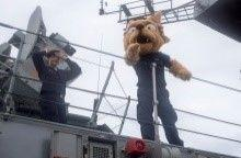 Lynch, mascot of the Chilean Navy frigate CNS Almirante Lynch, entertains the crew during a replenishment at sea with Royal Canadian Navy supply ship MV Asterix off the coast of Hawaii during RIMPAC 2018, July 28th. (Photo: U.S. Navy Mass Communication Specialist Third Class Jason Isaacs)