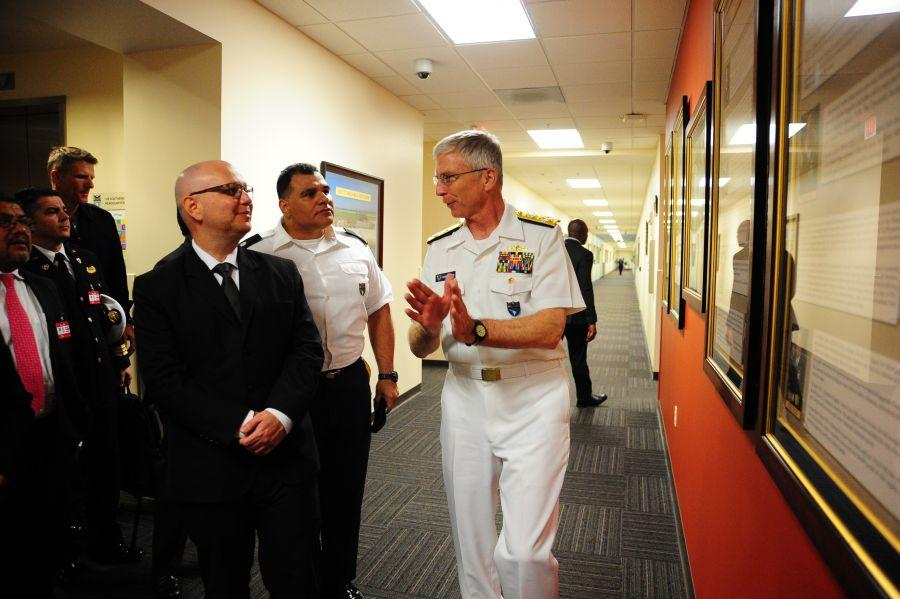 U.S. Navy Adm. Craig Faller, commander of U.S. Southern Command, talks with Costa Rica's Minister of Public Security Michael Soto Rojas during his visit to SOUTHCOM headquarters, January 28, 2019.