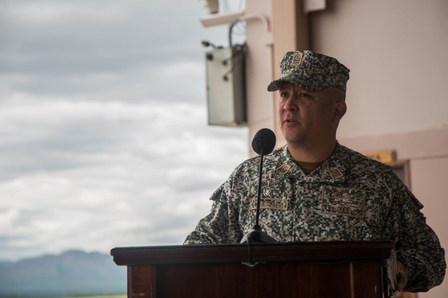 Colombian Marine Corps Lieutenant Colonel Eduar Alexander Michaels Bravo, SPMAGTF-SC deputy commander, delivers a speech at the opening ceremony. Partner nations' military members from Brazil Colombia, Peru, Chile, Argentina, Belize, and the Dominican Republic will deploy with SPMAGTF-SC to Latin America and the Caribbean. (Photo: U.S. Marine Corps)