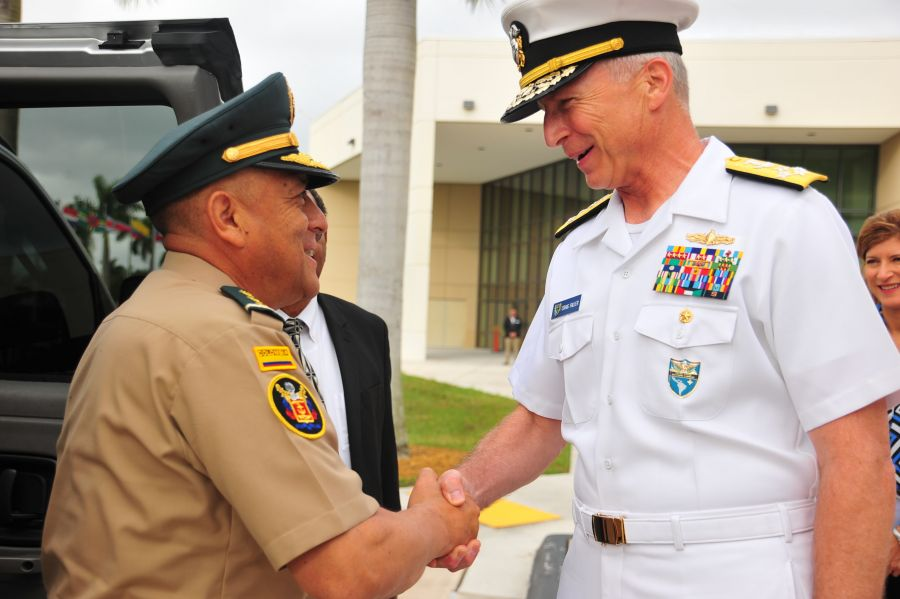 U.S. Navy Admiral Craig S. Faller, commander of U.S. Southern Command (SOUTHCOM), welcomes Colombian Army Major General Luis Navarro Jiménez, commander of Colombia's Military Forces, to SOUTHCOM headquarters. The two leaders met at SOUTHCOM to discuss U.S.-Colombia defense cooperation. (Photos by Juan Chiari, U.S. Army Garrison-Miami)