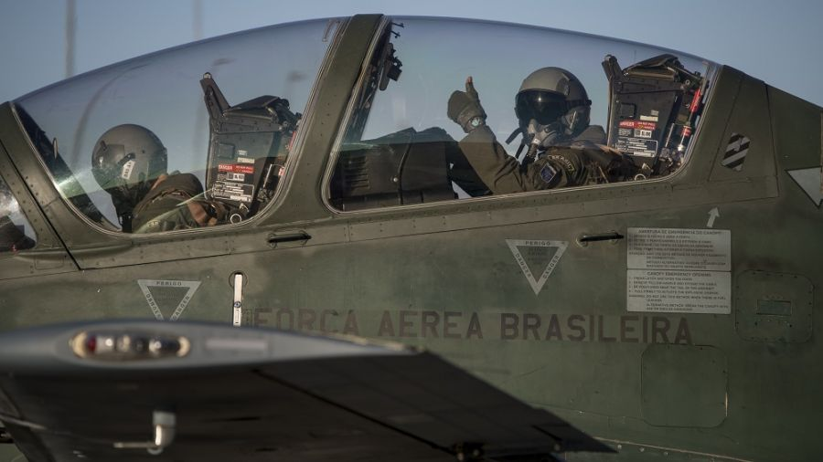 This year, for the first time, Brazil took part in the exercise taking six of its A-29B aircrafts, also known as Super Tucanos. (Photo: U.S. Air National Guard Master Sgt. Joshua C. Allmaras)